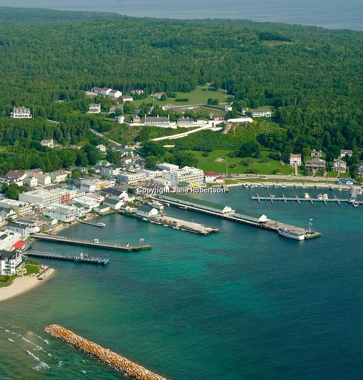 Aerial view of Mackinac Island, Lake Superior,