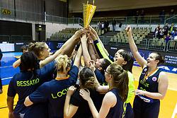 Team Cinkarna Celje celebrating after the basketball match between Akson Ilirija and Cinkarna Celje in Final Round of Pokal Članic 2018/19, on March 10, 2019 in Dvorana Tabor, Maribor, Slovenia. Photo by Blaž Weindorfer / Sportida