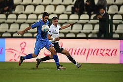 November 3, 2018 - Vercelli, Italy - Italian defender Angelo Tartaglia from Novara Calcio team playing during Saturday evening's match against Pro Vercelli team valid for the 10th day of the Italian Lega Pro championship  (Credit Image: © Andrea Diodato/NurPhoto via ZUMA Press)
