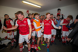 Broxburn Athletic's players cele in the dressing room at the end. Broxburn Athletic FC 3 v 0 Cowdenbeath, William Hill Scottish Cup 2nd Round replay played 26/10/2019 at Albyn Park, Greendykes Road, Broxburn.