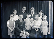 large family group studio portrait without parents France circa 1930s