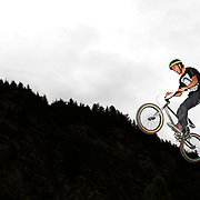 Jake Prebble in action during the 'Red Bull Roast It' BMX competition with riders from around the globe competing at the Gorge Road Jump Park, Queenstown, South Island, New Zealand. 18th February 2012. Photo Tim Clayton