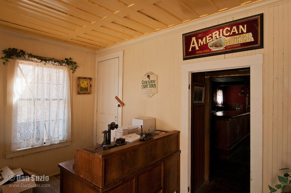 Lobby of the American Hotel, built in 1871 at Cerro Gordo, a mining community in the Inyo Mountains near Keeler, California