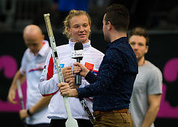 November 8, 2018 - Prague, Czech Republic - Katerina Siniakova of the Czech Republic plays hockey during a video shoot ahead of the 2018 Fed Cup Final between the Czech Republic and the United States of America (Credit Image: © AFP7 via ZUMA Wire)