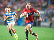 Scotland player Douglas fife scores a try after breaking a tackle  during Argentina  v Scotland match in the Cathay Pacific/HSBC Hong Kong 7s at Hong Kong Stadium, Hong Kong, Hong Kong on 7 April 2017. Photo by Ian  Muir.*** during *** v *** in the Cathay Pacific/HSBC Hong Kong 7s at Hong Kong Stadium, Hong Kong, Hong Kong on 7 April 2017. Photo by Ian  Muir.