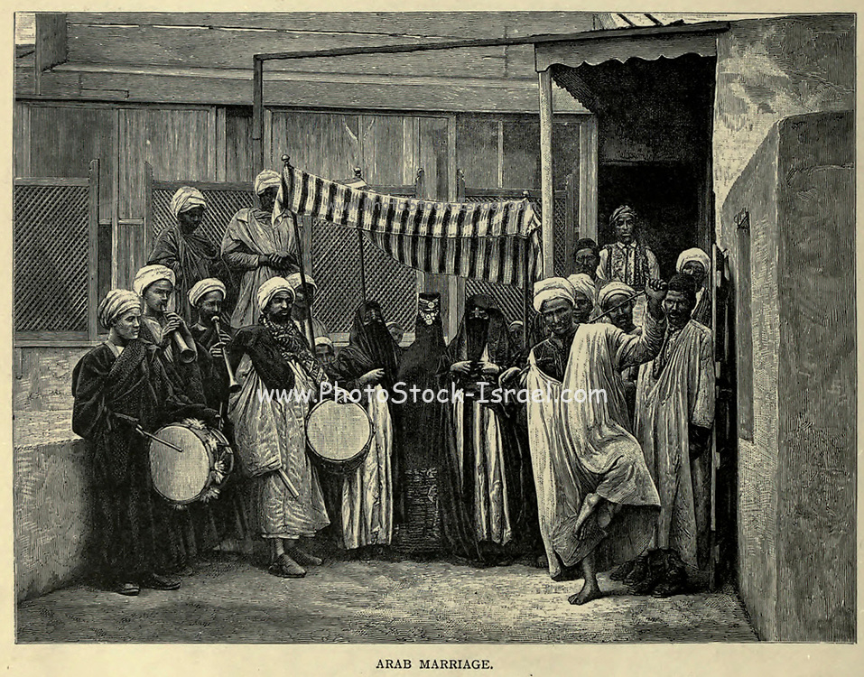 wood engraving of an Arab Marriage in Cairo From the book 'Picturesque Palestine, Sinai and Egypt : social life in Egypt; a description of the country and its people' with illustrations on Steel and Wood by Wilson, Charles William, Sir, 1836-1905; Lane-Poole, Stanley, 1854-1931. Published by J.S. Virtue in London in 1884