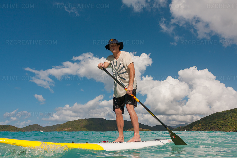 Mark Anders standup paddling in the island of St. John, USVI. Photo © Robert Zaleski / rzcreative.com<br /> —<br /> To license this image for editorial or commercial use, please contact Robert@rzcreative.com