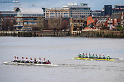 Putney, Greater London. 16 February 2020, Pre Boat Race Fixture, Cambridge University Women's Boat Club, [R] CUWBC vs [L] A.S.R. Neraus Rowing Club, Amsterdam, NED.,  Championship Course, Putney to Mortlake, River Thames, [Mandatory Credit: Peter SPURRIER/Intersport Images],<br /> <br /> CUWBC Crew: B. Patricia Smith, 2. Rebecca Dell, 3. Bronya Sykes,  4. Sophie Paine, 5. Anouschka Fenley,<br /> 6. Caoimhe Dempsey, 7. Abba Parker, S. Larkin Sayre<br /> Cox. Dylan Whitaker