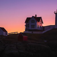 Nubble Lighthouse silhouette taken at dawn minutes before sunrise. Loved watching this sunrise and how the first light created a beautiful silhouette of Nubble Light. It's my favorite time of the day, when I can enjoy quietude and solitude.<br /> <br /> Maine Cape Neddick Nubble Lighthouse fine art photography is available as museum quality photography prints, canvas prints, acrylic prints or metal prints. Prints may be framed and matted to the individual liking and room decor needs:<br /> <br /> https://juergen-roth.pixels.com/featured/nubble-light-silhouette-juergen-roth.html<br /> <br /> My best,<br /> <br /> Juergen<br /> Prints: http://www.rothgalleries.com<br /> Photo Blog: http://whereintheworldisjuergen.blogspot.com<br /> Instagram: https://www.instagram.com/rothgalleries<br /> Twitter: https://twitter.com/naturefineart<br /> Facebook: https://www.facebook.com/naturefineart