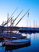 Boats in the harbour at dawn in Bandol, France