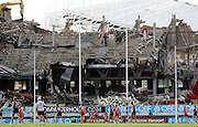 Stephen Milne of the Saints kicks a goal into the rubble that was the Noble stand during the AFL Round 17 match between the Sydney Swans and the St Kilda Saints at the SCG, Sydney. (Photo: Craig Golding/AFL Media)
