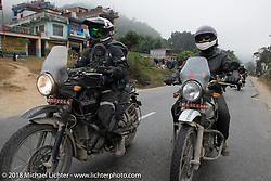 Sean Lichter ()L) and Grant Peterson on day-9 of our Himalayan Heroes adventure riding from Pokhara to Nuwakot, Nepal. Wednesday, November 14, 2018. Photography ©2018 Michael Lichter.
