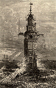 Second Eddystone lighthouse built on the Stone 13 miles South-east of Polperro, Cornwall, England, which claimed up to 50 ships a year.  Built by the English engineer and engraver Henry Winstanley (1644-1703) in 1699, destroyed in a gale on 26 November 1703. From 'The Pictorial Gallery of Arts' by Charles Knight (London, c1851).   Engraving.