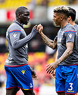 Mamadou Sakho of Crystal Palace, Patrick van Aanholt (3) of Crystal Palace  during the Premier League match between Watford and Crystal Palace at Vicarage Road, Watford, England on 21 April 2018. Picture by Sebastian Frej.
