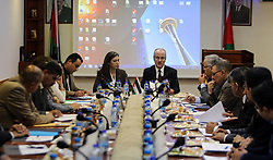May 25, 2017 - Ramallah, West Bank, Palestinian Territory - Palestinian Prime Minister, Rami Hamdallah, speaks during a meeting of the Advisory Council, in the West bank city of May 25, 2017  (Credit Image: © Prime Minister Office/APA Images via ZUMA Wire)