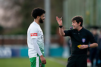 Football - 2020 / 2021 FA Trophy - Round Two - Marine vs Hyde United - Rossett Park<br /> <br /> <br /> Hyde United's Paddy Lane is shown a yellow card by <br /> Referee Neil Evans<br /> <br /> COLORSPORT/TERRY DONNELLY