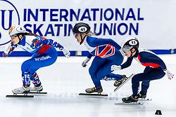 13-01-2019 NED: ISU European Short Track Championships 2019 day 3, Dordrecht<br /> Elise Christie #41 GBR, Sofia Prosvirnova #4 RUS, Tifany Huot Marchand #11 FRA