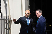 Chancellor of the Exchequer Sajid Javid greets Irish Finance Minister  Paschal Donohoe at number 11 Downing Street in Central London, United Kingdom on 6th August 2019.
