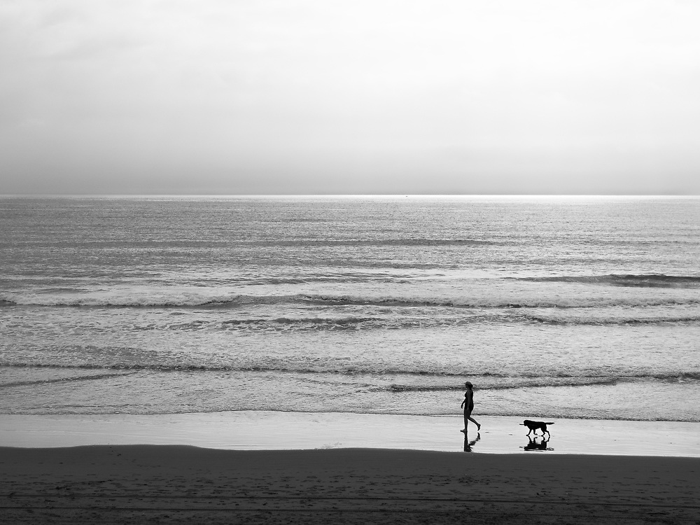 Sea with Woman and Dog Black and White