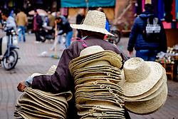A hat seller in the medina in Marrakech, Morocco, North Africa<br /> <br /> (c) Andrew Wilson   Edinburgh Elite media