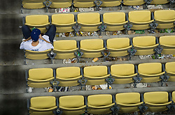 November 1, 2017 - Los Angeles, CA, USA - A lone Dodgers' fan watches the on field celebration after the Houston Astros defeated the Los Angeles Dodgers 5-1 in Game 7 of the World Series at Dodger Stadium in Los Angeles, CA on Wednesday, November 1, 2017. (Credit Image: © Kevin Sullivan/Los Angeles Daily News via ZUMA Wire)