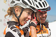 Ariane Kleinhans (right) and Annika Langvad of Team RECM2 after the final stage (stage 7) of the 2014 Absa Cape Epic Mountain Bike stage race from Oak Valley Wine Estate in Elgin to Lourensford Wine Estate in Somerset West, South Africa on the 30 March 2014<br /> <br /> Photo by Greg Beadle/Cape Epic/SPORTZPICS