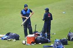England's Ben Stokes (left) and Adil Rashid during the nets session at Cardiff Wales Stadium.
