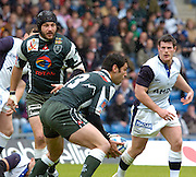 2005 European Challenge Cup Final Sale Sharks v Pau, ENGLAND, 21.05.2005, Pau No 8 Alex Manta, looks on as Jean-Charles Cistacq [No.13]collects the loose ball.<br /> Photo  Peter Spurrier. <br /> email images@intersport-images