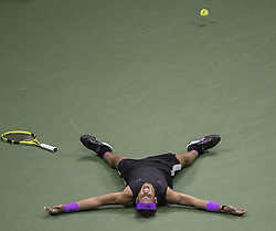 September 8, 2019, Flushing Meadows, New York, United States of America: Rafael Nadal celebrates his win of the Men Singles Finals match against Daniil Medvedev on Day 14 of the 2019 US Open at USTA Billie Jean King National Tennis Center on Sunday September 8, 2019 in the Flushing neighborhood of the Queens borough of New York City. Nadal defeats Medvedev, 7-5, 6-3, 5-7, 4-6, 6-4. JAVIER ROJAS/PI (Credit Image: © Prensa Internacional via ZUMA Wire)