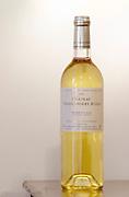 White wine. Chateau Villerambert-Julien near Caunes-Minervois. Minervois. Languedoc. France. Europe. Bottle.