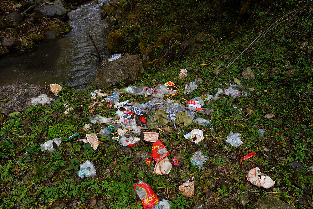 Garbage in the middle of Laba He National Nature Reserve, Sichuan, China