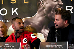 Kell Brook (left) and Eddie Hearn (right) during the press conference at Sheffield Town Hall.