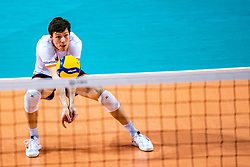 Just Dronkers of Netherlands in action during the CEV Eurovolley 2021 Qualifiers between Sweden and Netherlands at Topsporthall Omnisport on May 14, 2021 in Apeldoorn, Netherlands