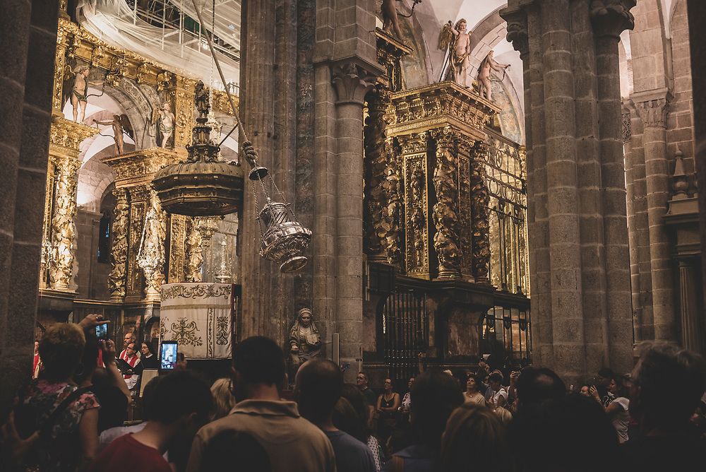 In the cathedral at Santiago de Compostela, congregants watch the famous swinging of the botafumerio. (July 13, 2018)<br /> <br /> DAY 47: STAYED IN SANTIAGO DE COMPOSTELA