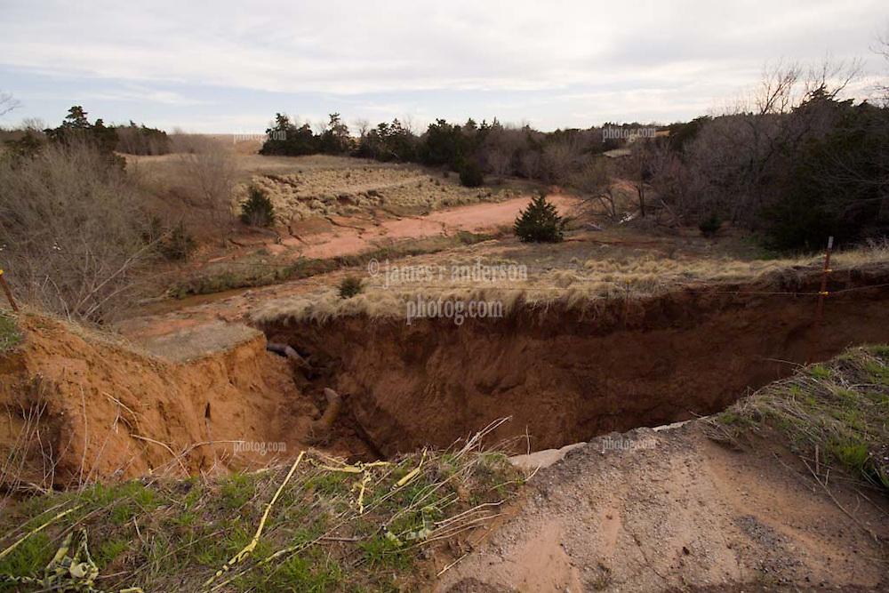 Ravine Washout Along Old US Route 66 near Bridgeport Oklahoma