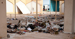 © under license to London News Pictures. 23/02/2011. Rubbish litters the area outside the passenger terminal at Lubrique Airport in Lubrique, Libya, after firece flighting between forces loyal to Gadaffi and the Opposition. Photo credit should read Michael Graae/London News Pictures