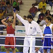 2. WOMEN'S WORLD BOXING CHAMPIONSHIPS.<br /> Norway's Tina HANSEN winner. Tina HANSEN (L) Tyoh Anett (R) Dilek Sabanci Sport Hall Antalya/Turkey<br /> Photo by Aykut AKICI/TurkSporFoto