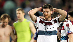 06.05.2015, Camp Nou, Barcelona, ESP, UEFA CL, FC Barcelona vs FC Bayern Muenchen, Halbfinale, Hinspiel, im Bild enttaeuschung bei Xabi Alonso #3 (FC Bayern Muenchen) // during the UEFA Champions League semi finals 1st Leg match between FC Barcelona and FC Bayern Munich at the Camp Nou in Barcelona, Spain on 2015/05/06. EXPA Pictures © 2015, PhotoCredit: EXPA/ Eibner-Pressefoto/ Kolbert<br /> <br /> *****ATTENTION - OUT of GER*****