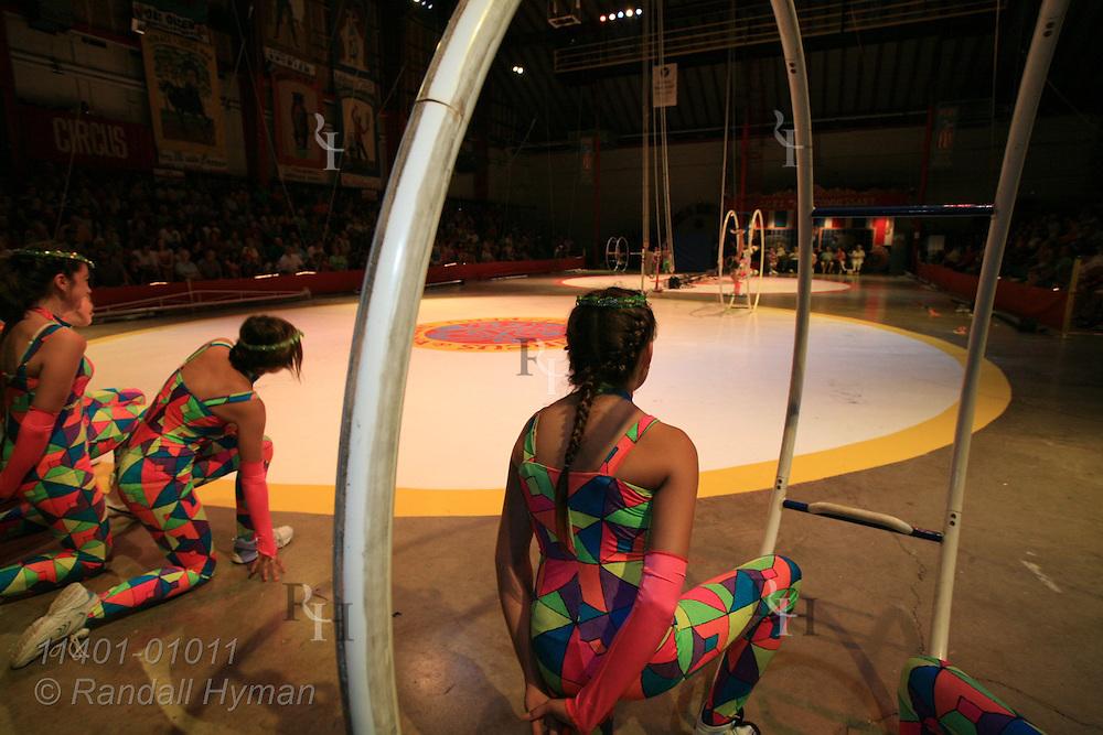 Kids roll before crowds on German wheel and take final bows at Peru Amateur Circus; Peru, Indiana.