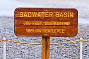 Sign at Badwater (lowest point in the US) Death Valley National Park. California