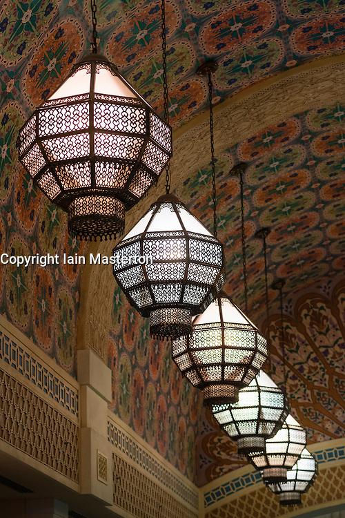 Ornate lamps in Ibn Battuta Mall in Dubai United Arab Emirates