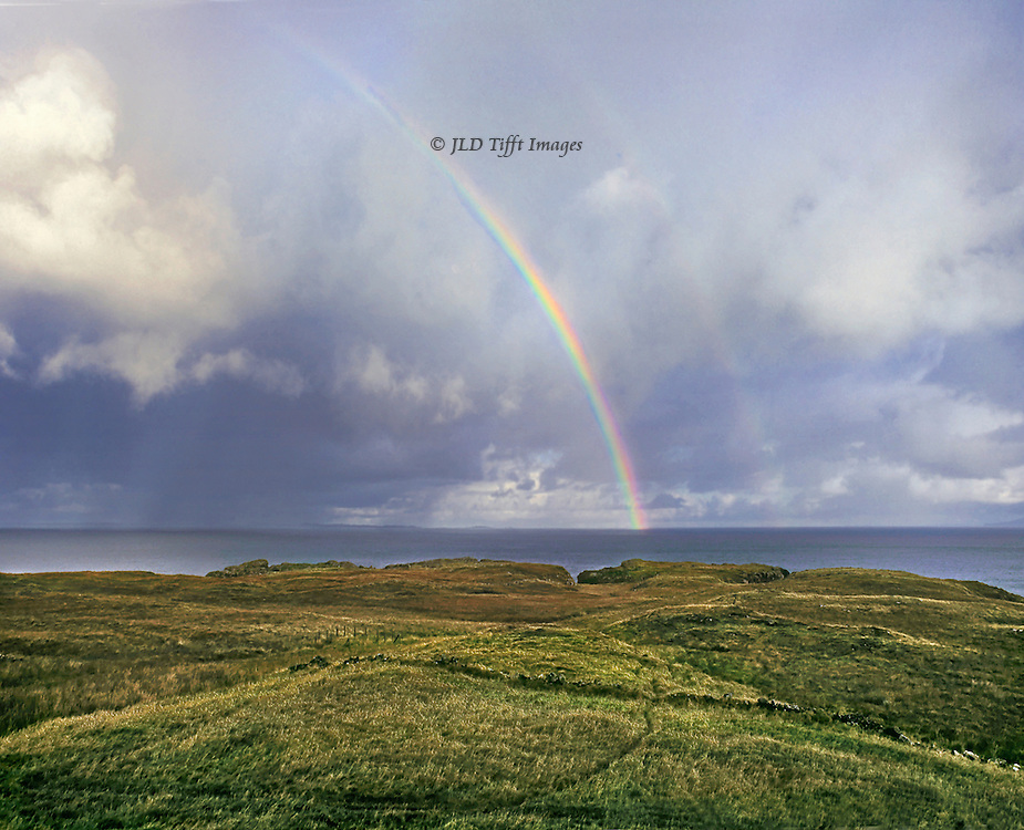 Double rainbow seen over the North Sea from the Isle of Mull near Dervaig.