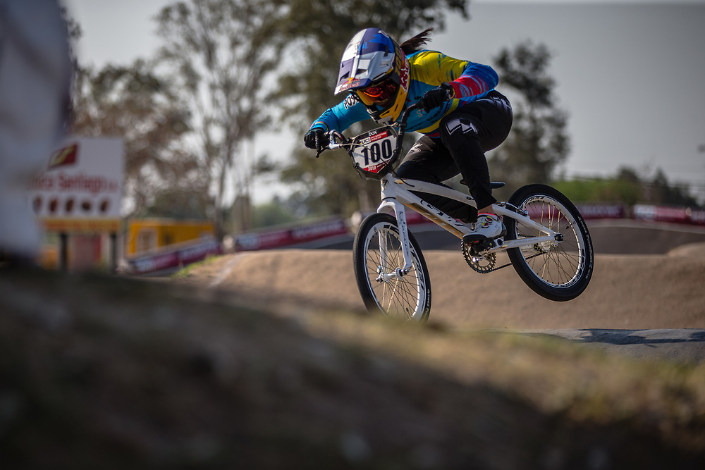 #100 (PAJON Mariana) COL at Round 10 of the 2019 UCI BMX Supercross World Cup in Santiago del Estero, Argentina