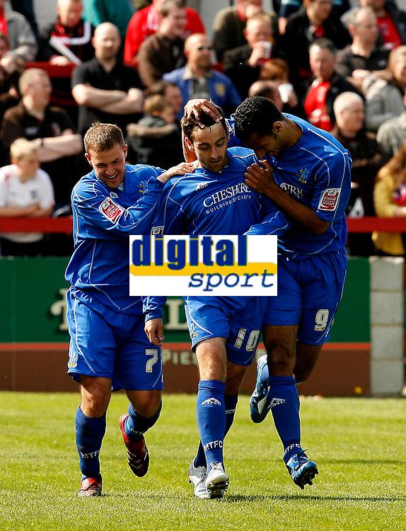 Photo: Paul Greenwood.<br />Accrington Stanley v Macclesfield Town. Coca Cola League 2. 28/04/2007.<br />Macclesfield captain Dave Morley (R) congratulates scorer John Miles