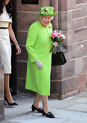Queen Elizabeth II after attending a lunch at Chester Town Hall. Photo credit should read: Doug Peters/EMPICS