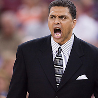 12 april 2008: Reggie Theus, head coach of the Sacramento Kings is seen during the Sacramento Kings 94-91 victory over the New Orleans Hornets, at the Arco Arena, in Sacramento, California, USA.
