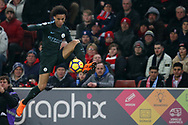 Leroy Sane of Manchester City in action. Premier league match, Stoke City v Manchester City at the Bet365 Stadium in Stoke on Trent, Staffs on Monday 12th March 2018.<br /> pic by Andrew Orchard, Andrew Orchard sports photography.