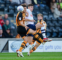 Hull City's Chris Martin is tackled by Preston North End's Jordan Storey<br /> <br /> Photographer Chris Vaughan/CameraSport<br /> <br /> The EFL Sky Bet Championship - Hull City v Preston North End - Saturday 20th October 2018 - KCOM Stadium - Hull<br /> <br /> World Copyright © 2018 CameraSport. All rights reserved. 43 Linden Ave. Countesthorpe. Leicester. England. LE8 5PG - Tel: +44 (0) 116 277 4147 - admin@camerasport.com - www.camerasport.com
