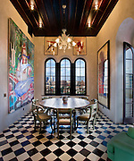 The triplex penthouse of Julian Schnabel in Palazzo Chupi, a building designed by the artist.