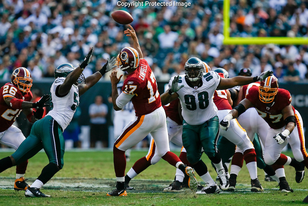 5 Oct 2008: Washington Redskins quarterback Jason Campbell #17 throws a pass under pressure during the game against the Philadelphia Eagles on October 5th, 2008. The Redskins won 23-17 at Lincoln Financial Field in Philadelphia, Pennsylvania.